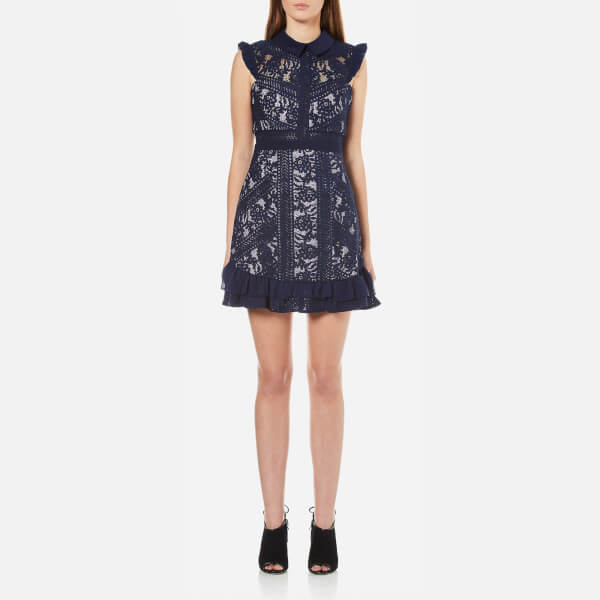 Three Floor Women's Juniper Floral Embroidered Lace Dress - Navy/Lilac