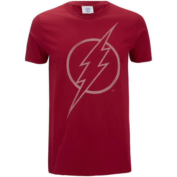 DC Comics Men's The Flash Line Logo T-Shirt - Cardinal Red