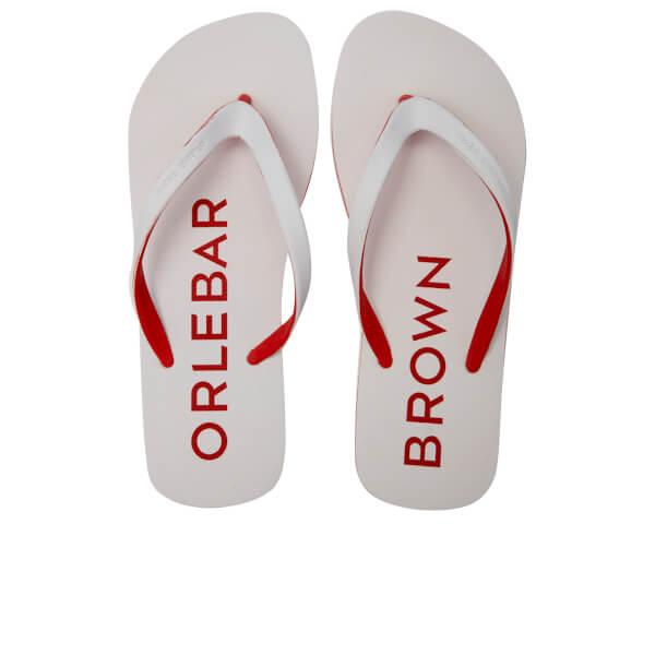 Orlebar Brown Men's Efren Flip Flops - White/Rescue Red