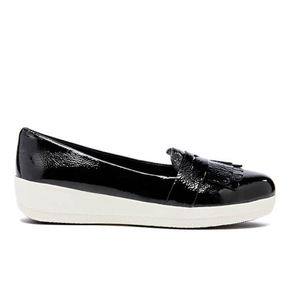 FitFlop Women's Fringey Sneakerloafer Loafers - Black Patent