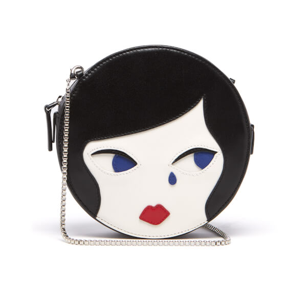 Lulu Guinness Women's Lulu Doll Face Leather Round Cross Body Bag - Black Chalk