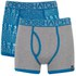Crosshatch Men's Squint 2-Pack Boxer Shorts - Mykonos Blue/Grey Marl: Image 1