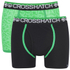 Crosshatch Men's Lightspeed 2-Pack Boxers - Bright Green/Black: Image 1