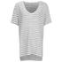 Gestuz Women's Marie Striped V-Neck Linen T-Shirt - Off White/Black: Image 1