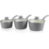 Tower T90921G Taper 3 Piece Ceramic Coated Saucepan Set - Grey - 18/20/22cm: Image 1
