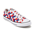 Converse Men's Chuck Taylor All Star Woven Canvas OX Trainers - White/Clematis Blue/Red: Image 2
