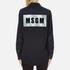 MSGM Women's Logo Back Oversized Denim Shirt - Black: Image 3
