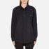 MSGM Women's Logo Back Oversized Denim Shirt - Black: Image 1