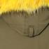 KENZO Women's Removable Yellow Fur Lined Short Parka - Dark Khaki: Image 7