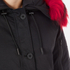 KENZO Women's Removable Red Fur Lined Short Parka - Black: Image 5