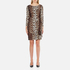 Boutique Moschino Women's Zip Pleat Dress - Leopard: Image 1