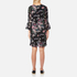 Ganni Women's Bartlett Georgette Flared Sleeve Dress - Black Bouquet: Image 3