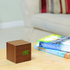 Gingko Cube Walnut Click LED Clock - Green: Image 4