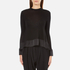 Paisie Women's Silk Panel Top with Back Button - Black: Image 1