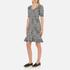 Boutique Moschino Women's Tweed Print Short Sleeve Peplum Dress - Black: Image 2