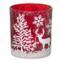 Parlane Winter Forest Glass Tealight Holder - Red (8 x 7.5cm): Image 1