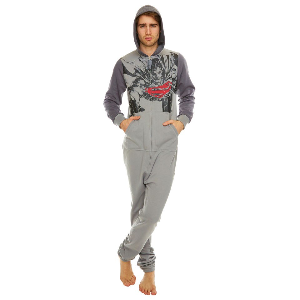 dc-comics-superman-sketch-print-hooded-onesie-grey-one-size
