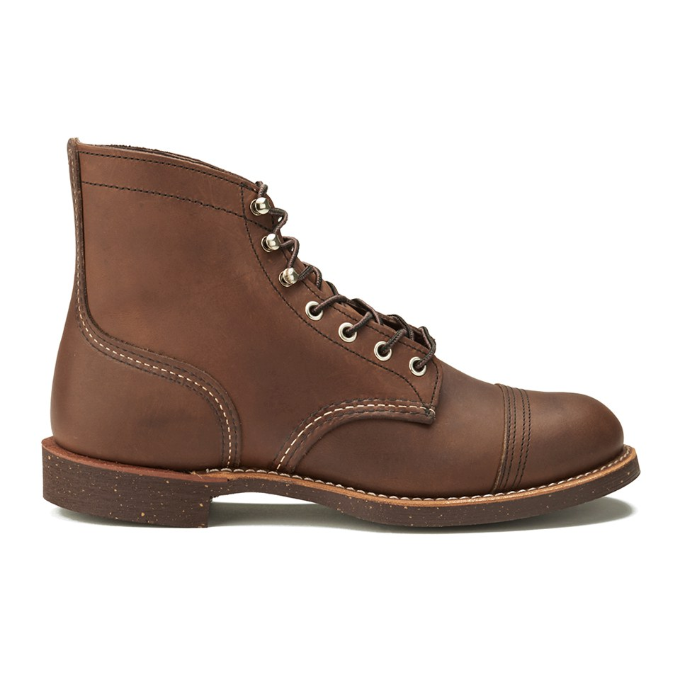 Red Wing Mens 6 Inch Iron Ranger Toe Cap Leather Lace Up Boots Amber Harness Clothing