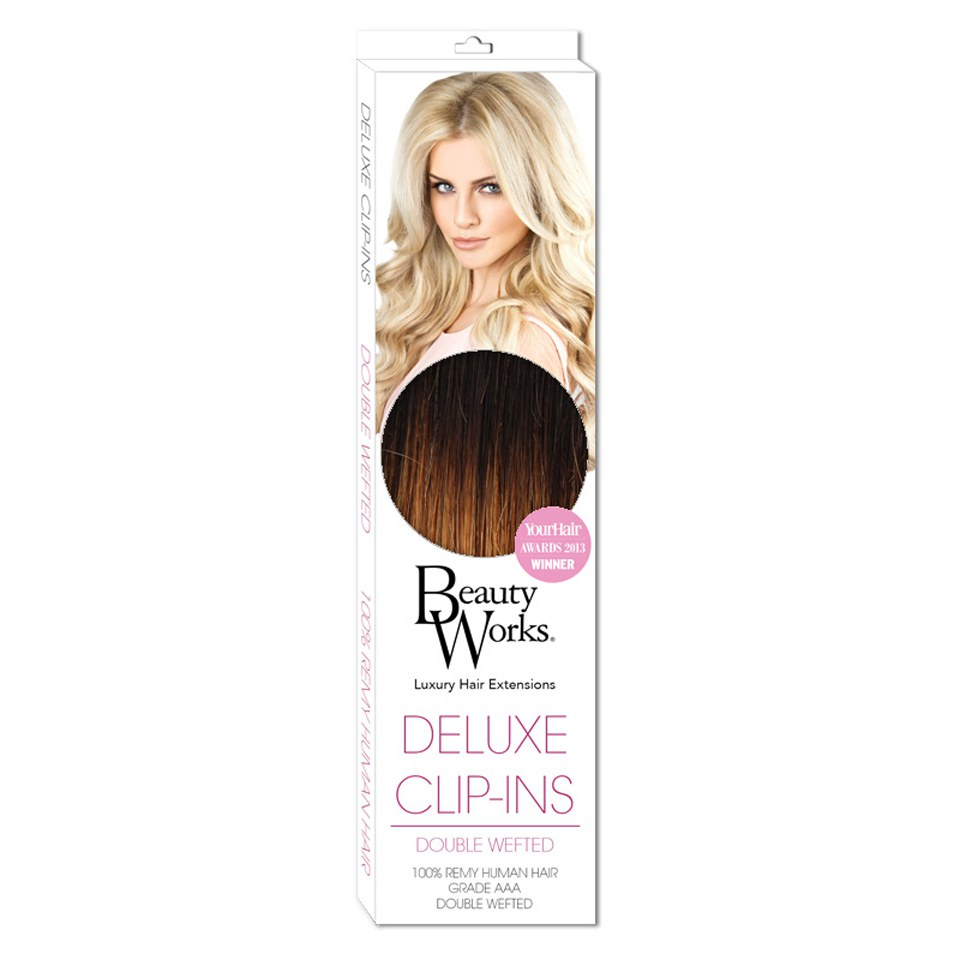 Beauty Works Deluxe Clip-In Hair Extensions 18 Inch – Gold Ombre 4/27T