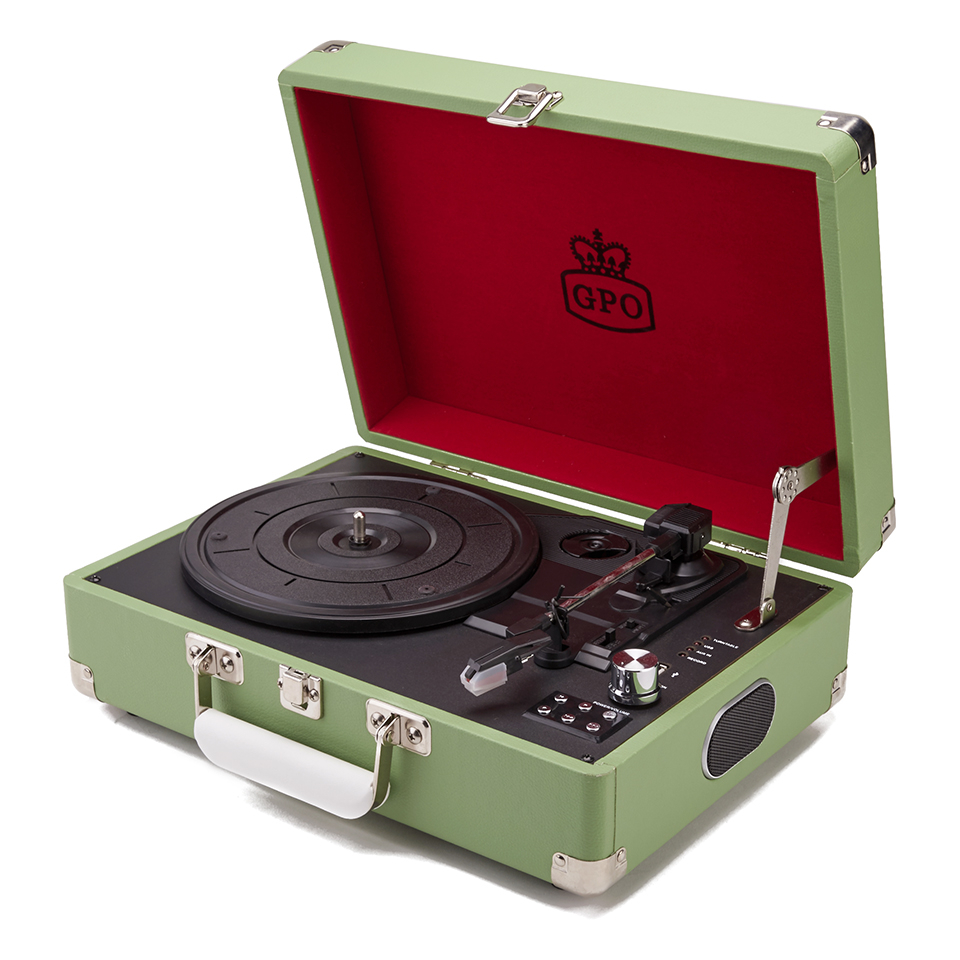 gpo-retro-attache-briefcase-style-three-speed-portable-vinyl-turntable-with-free-usb-stick-built-in-speakers-apple-green