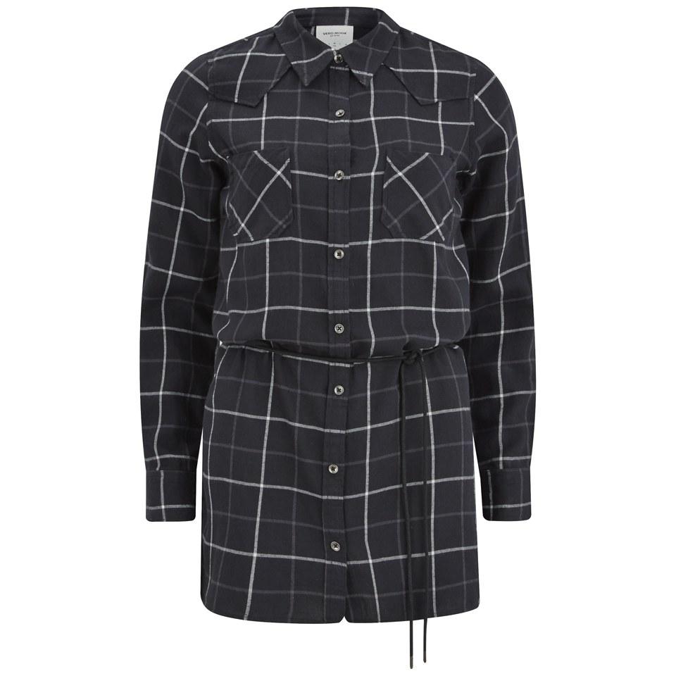 vero-moda-women-jannet-check-long-line-shirt-black-xs
