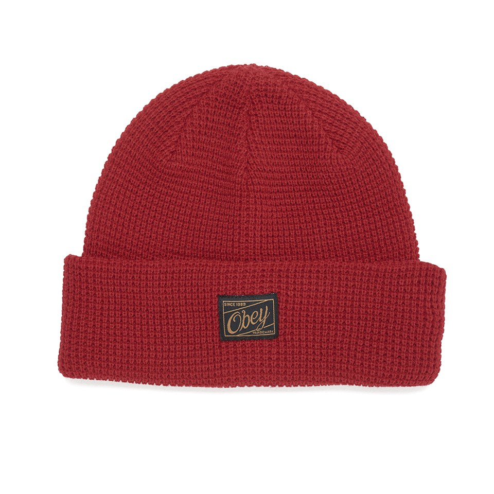 obey-clothing-men-roscoe-waffle-knitted-beanie-red
