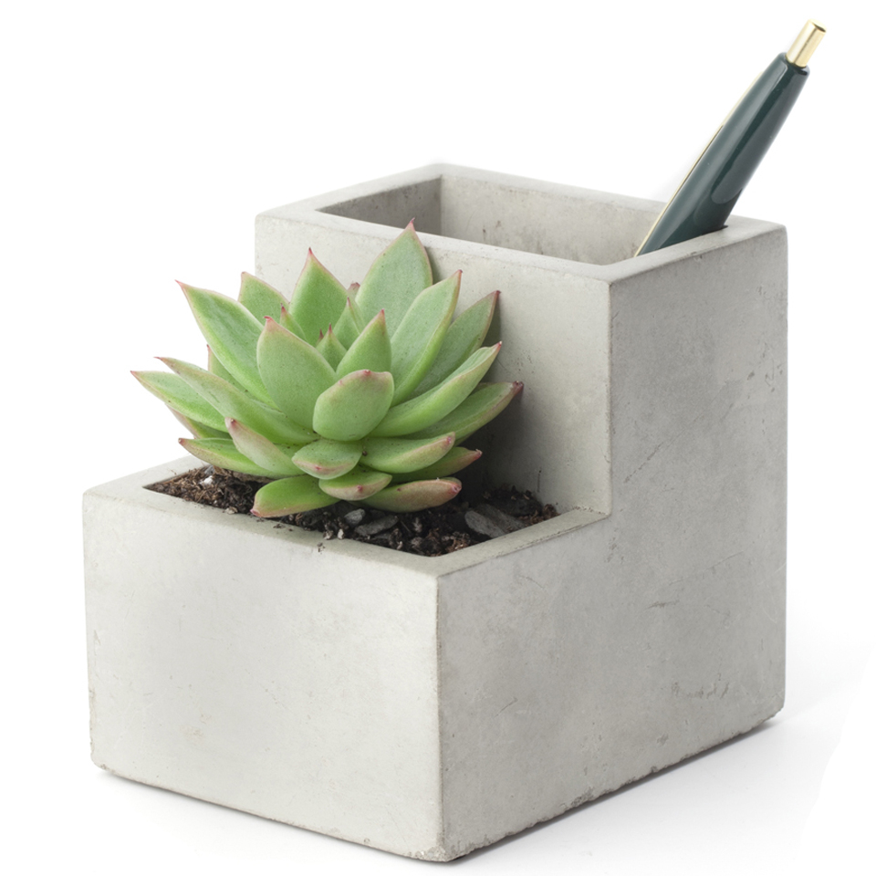 concrete-desktop-planter-pen-holder-small