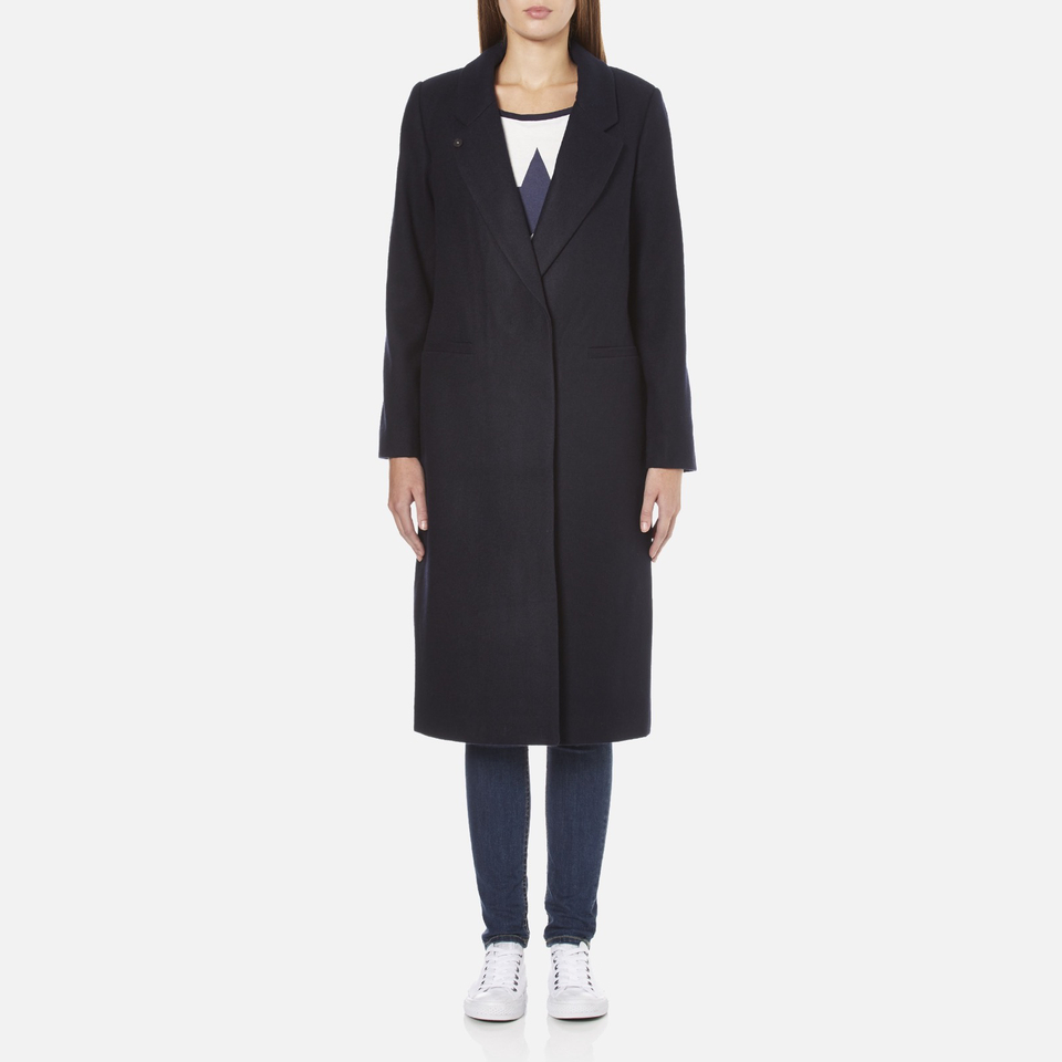 Maison Scotch Womens Longer Length Tailored Coat Navy Womens Clothing TheHutcom