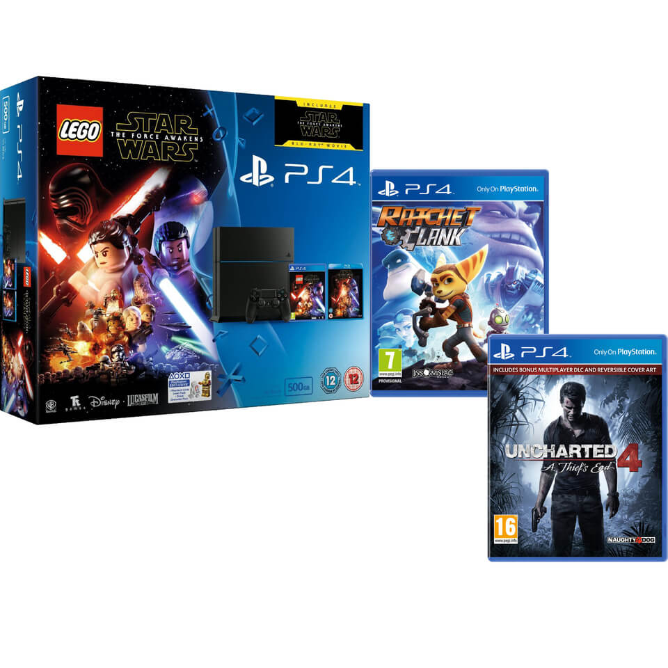 sony-playstation-4-500gb-includes-lego-star-wars-the-force-awakens-star-wars-the-force-awakens-ratchet-clank-uncharted-4