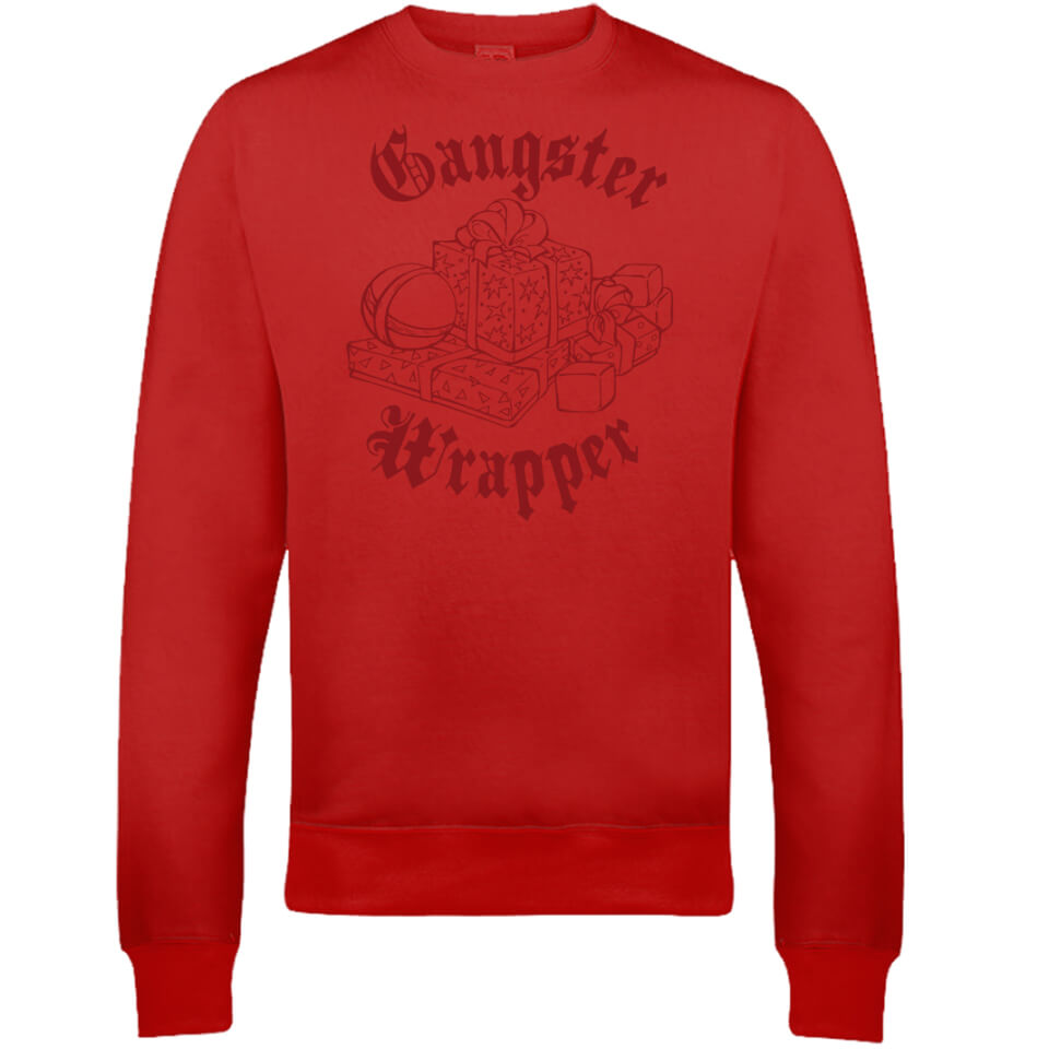 Gangster Wrapper Christmas Sweatshirt   Red   L