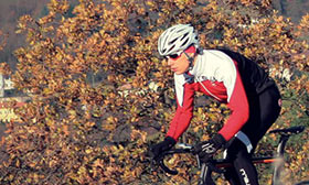 Cyclist riding in Autumn