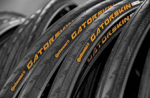 A row of Continental bike tyres