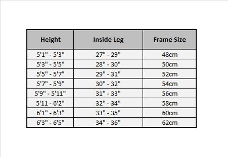 Bike frame size table