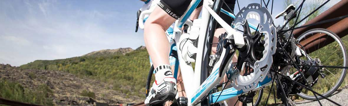 Close up of a road bike disc brake