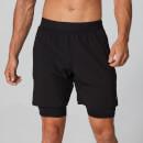 Power Zweilagige Shorts - Schwarz