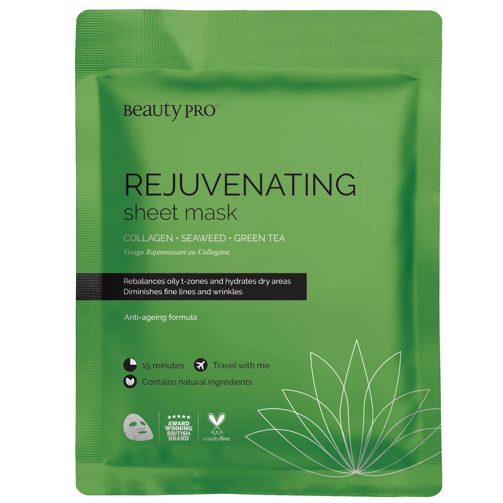 BeautyPro maschera in tessuto rinvigorente al collagene con estratto di tè verde