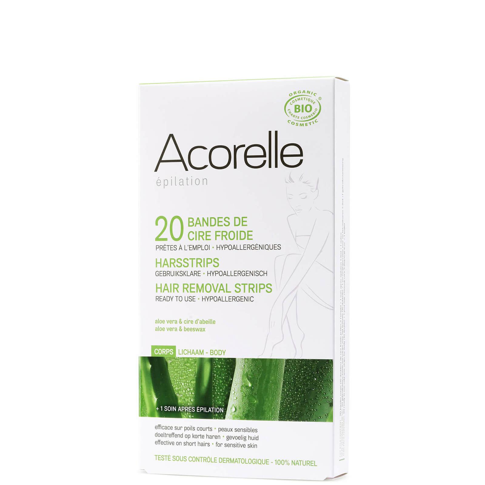 Купить Восковые полоски для депиляции ног с алоэ вера и пчелиным воском Acorelle Ready to Use Aloe Vera and Beeswax Leg Strips — 20 шт.