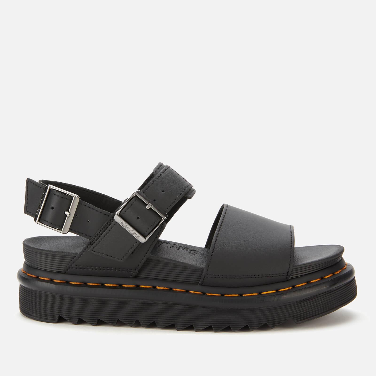 Dr. Martens Women's Voss Leather Double Strap Sandals - Black - UK 3