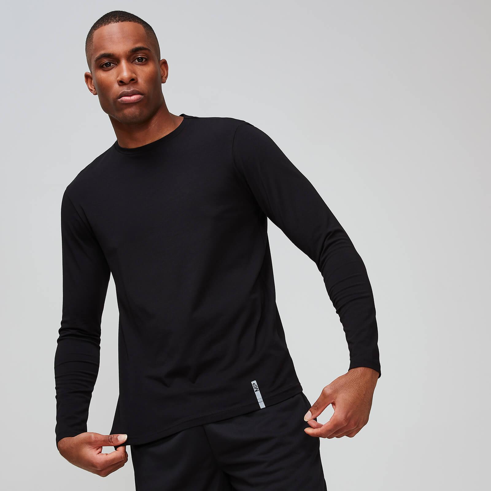 T-shirt manches longues à col ras du cou MP Luxe Classic pour hommes – Noir - S