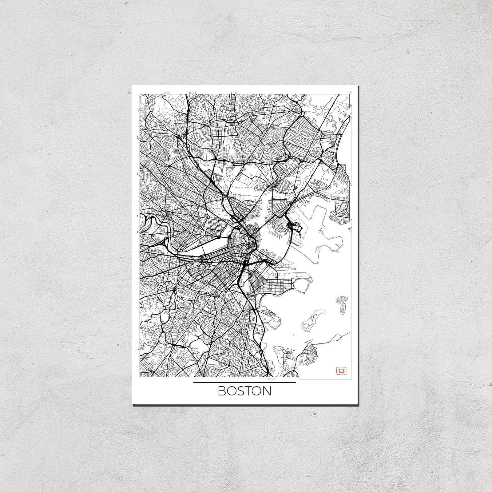 Image of City Art Black and White Outlined Boston Map Art Print - A3 - Print Only