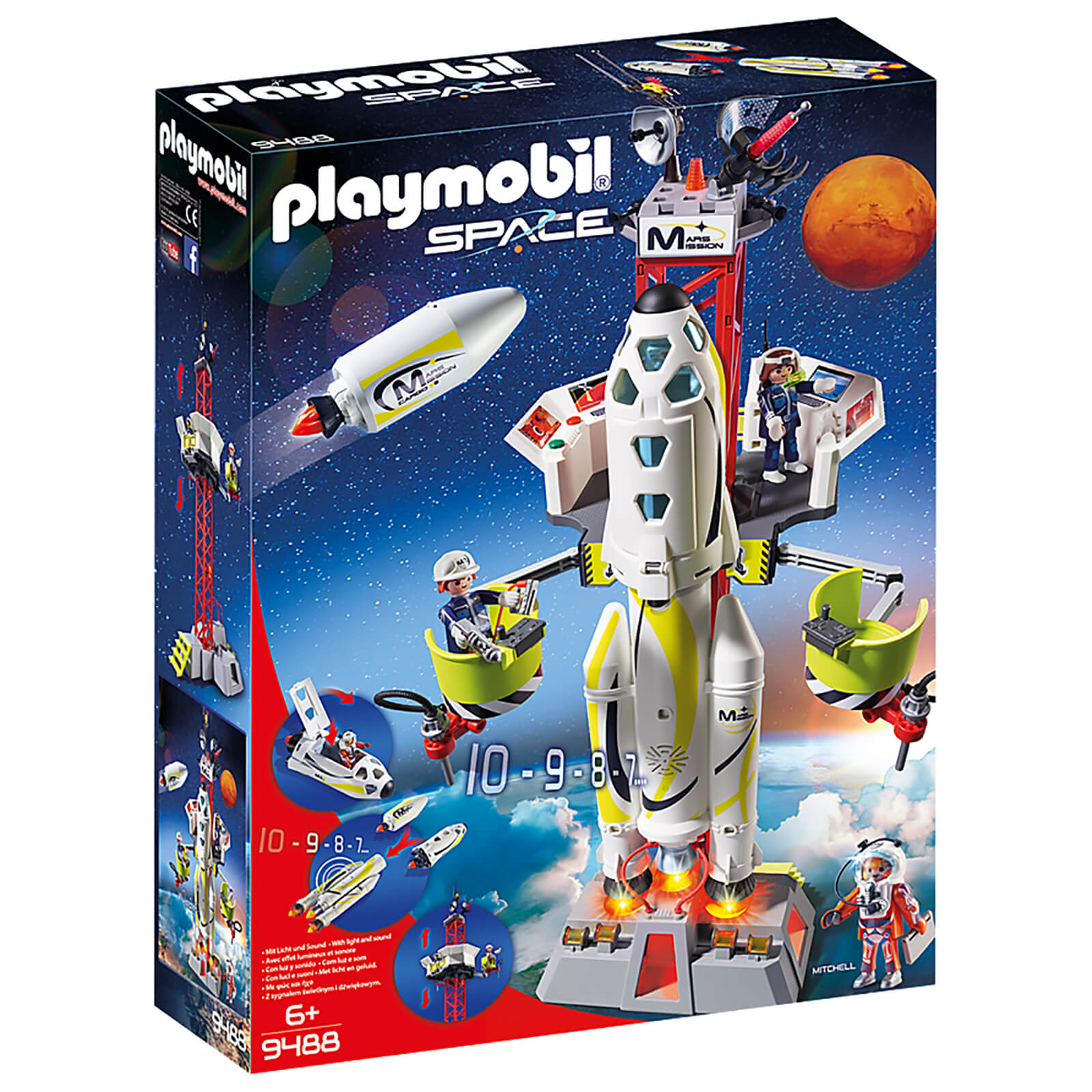 Image of Playmobil Space Mission Rocket Launch Site with Lights and Sound (9488)