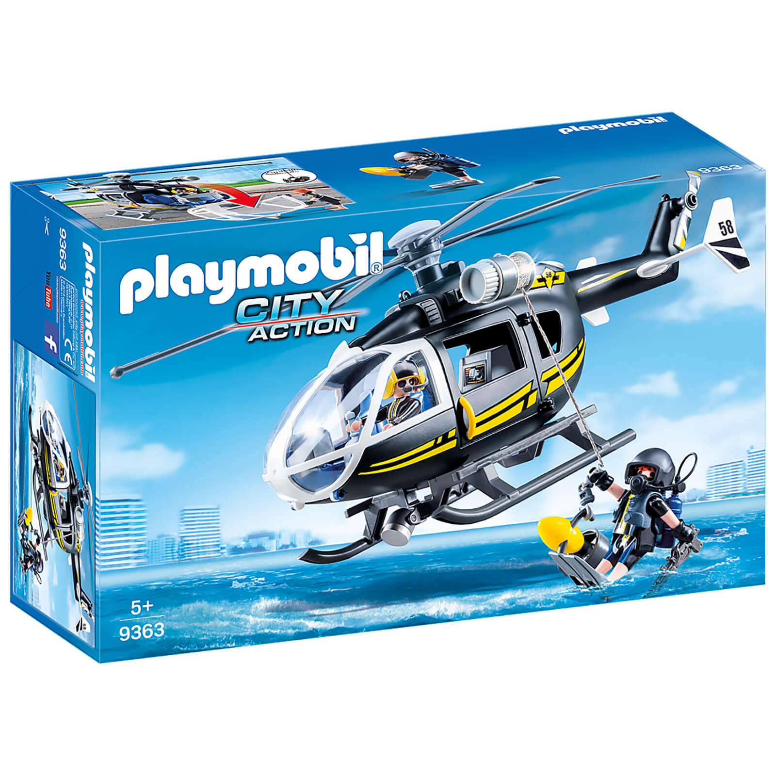 Playmobil City Action SWAT Helicopter with Working Winch (9363)