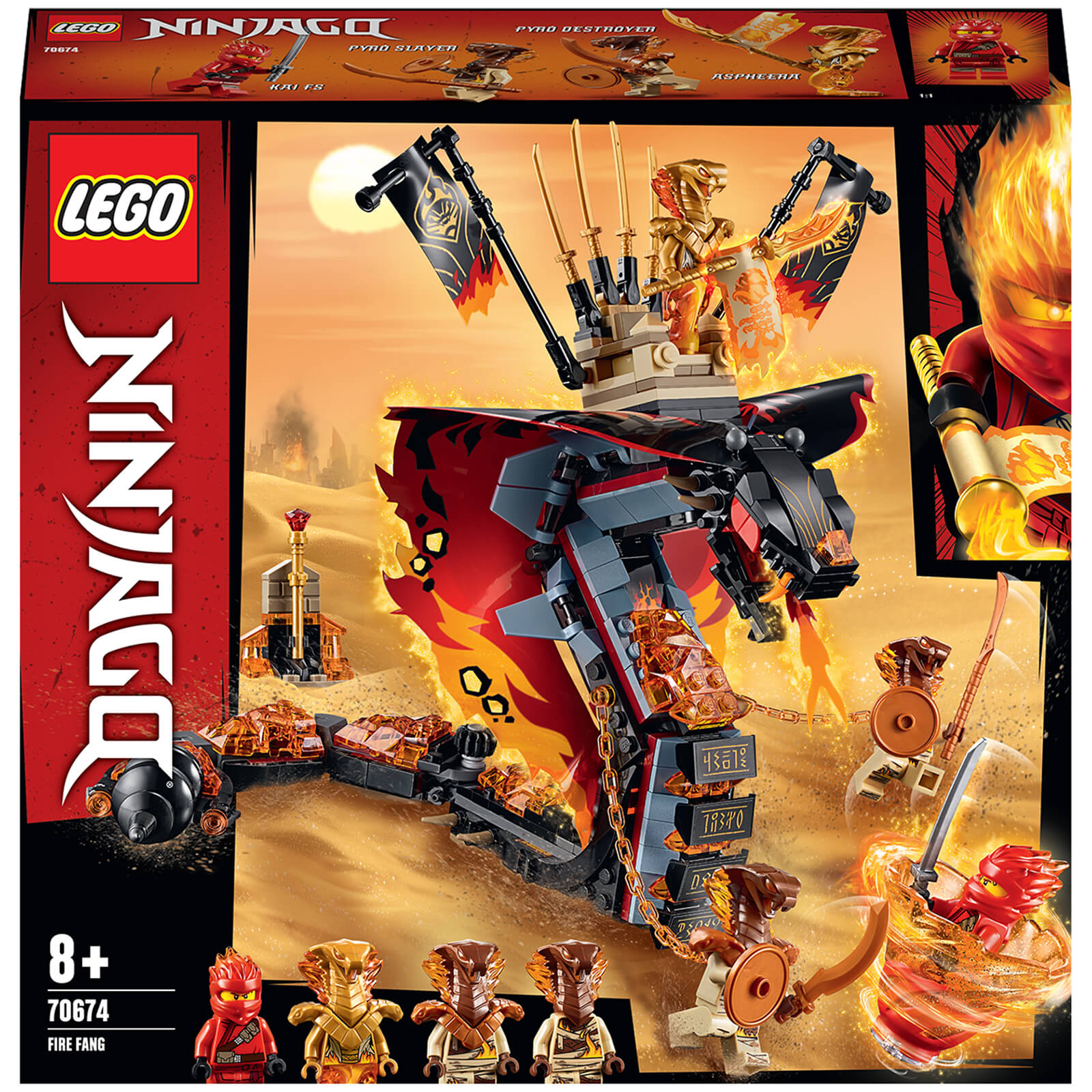Image of LEGO NINJAGO: Fire Fang Snake Toy for Kids (70674)