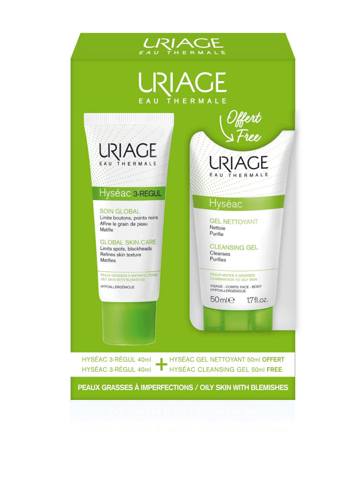 Купить Uriage Hyséac 3-Régul Global Skin Care 40ml + Cleansing Gel 50ml Free