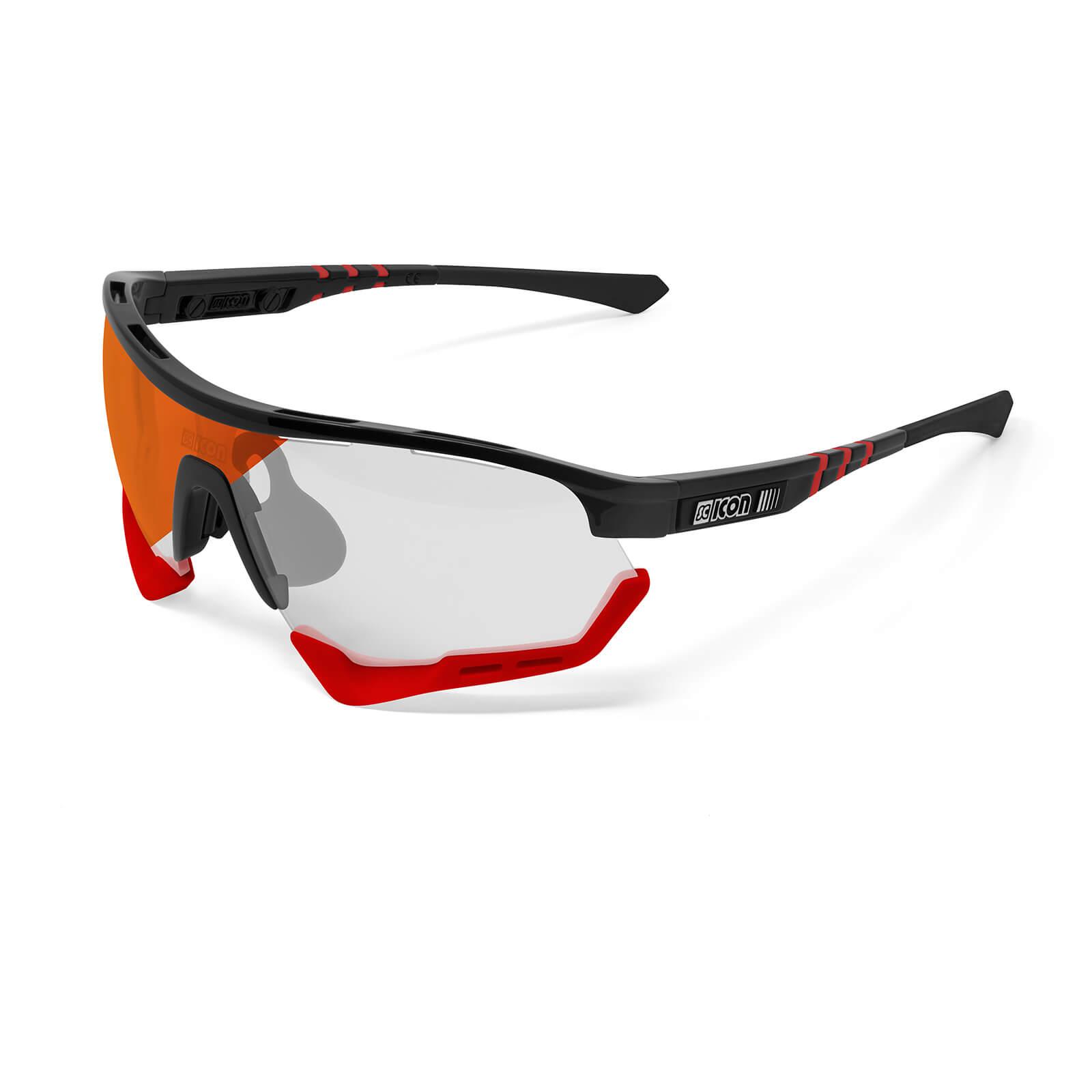Scicon Aerotech XL Sunglasses Black Gloss/SCN-XT Photochromic Red Mirror