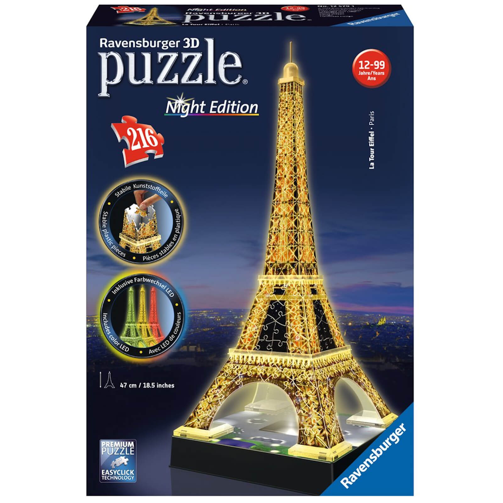 Image of Ravensburger Eiffel Tower Night Edition 3D Jigsaw Puzzle (216 Pieces)