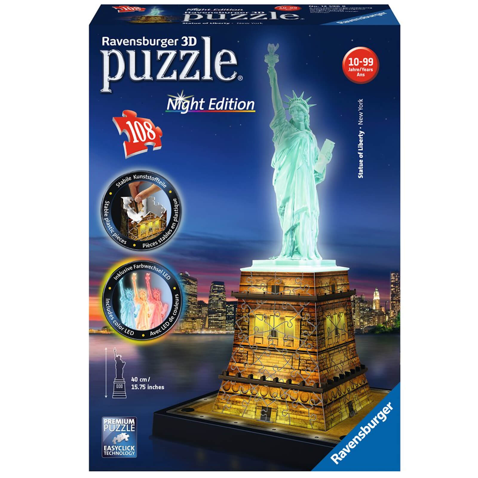 Image of Ravensburger Statue of Liberty Night Edition 3D Puzzle (216 Pieces)