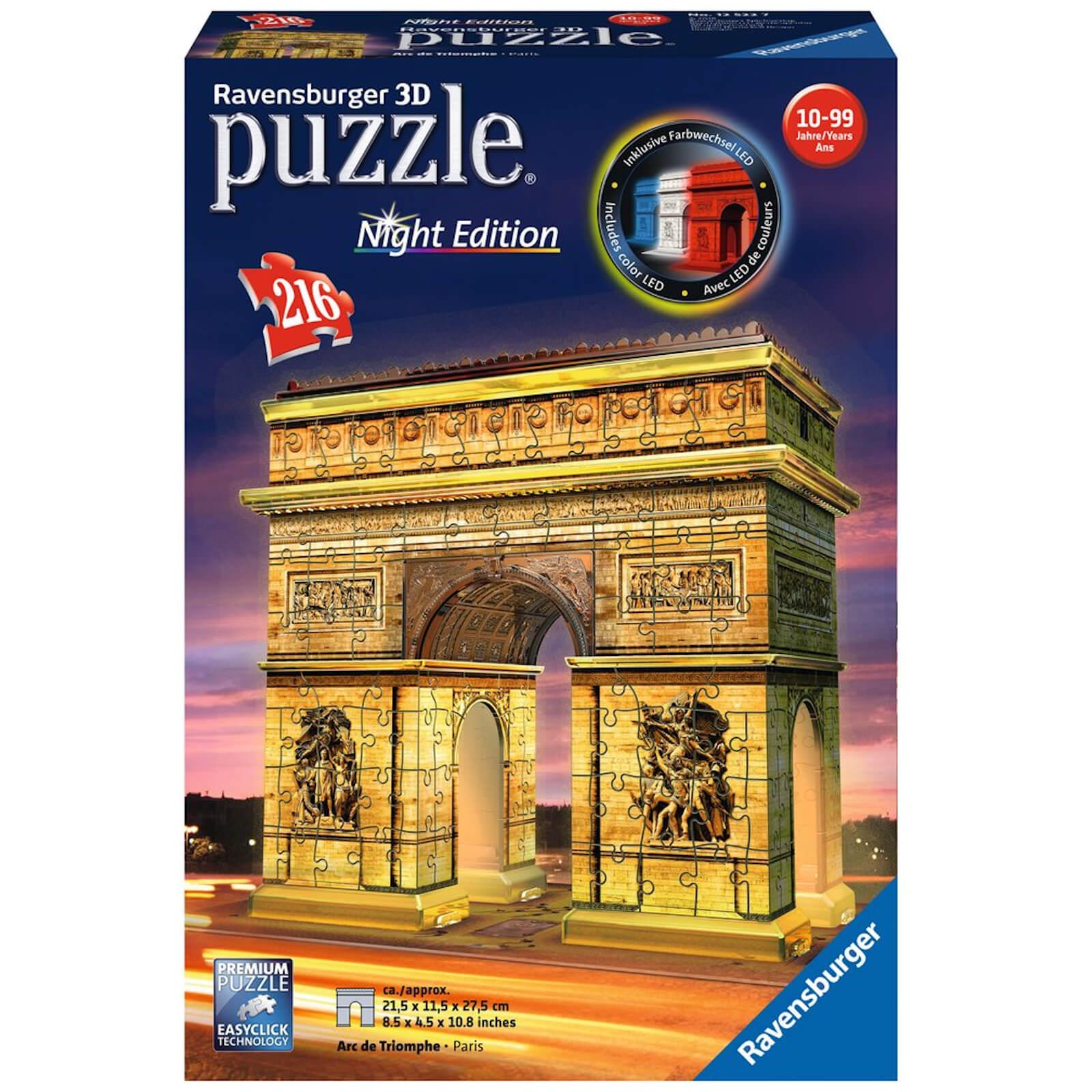 Image of Ravensburger Arc de Triomphe Night Edition 3D Jigsaw Puzzle (216 Pieces)