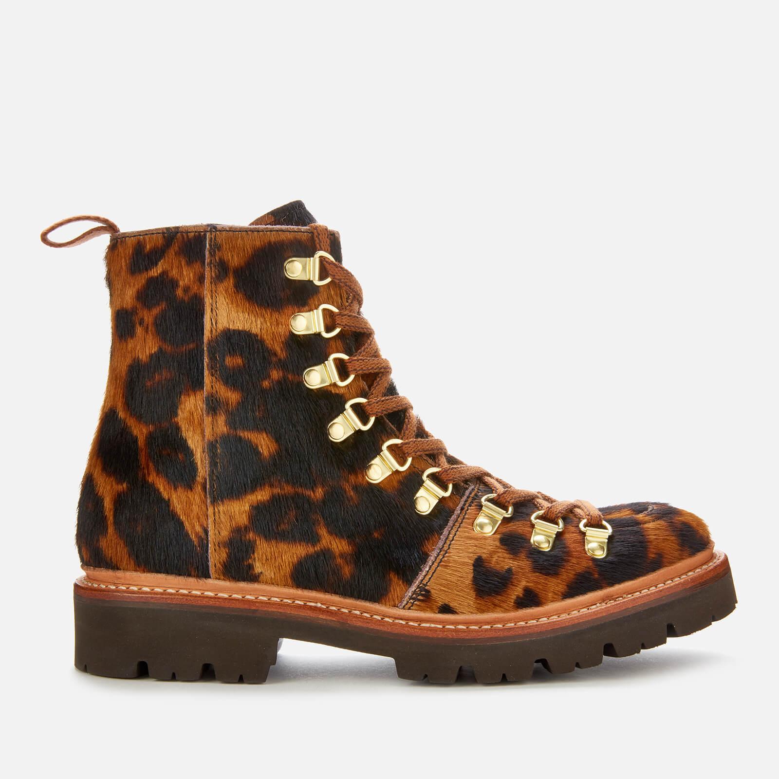 Grenson Women's Nanette Leopard Print Pony Hiking Style Boots - Brown - Uk 3