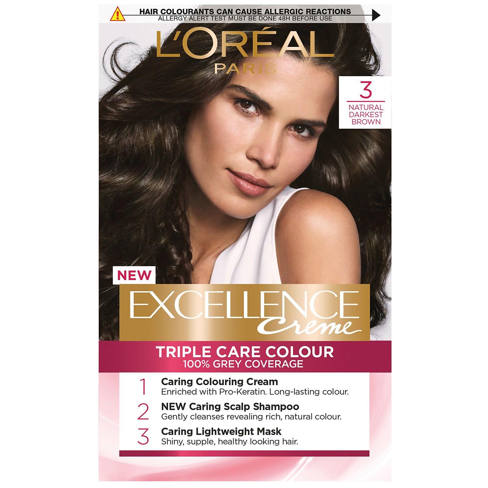 L'Oréal Paris Excellence Crème Permanent Hair Dye (Various Shades) - 3 Natural Darkest Brown